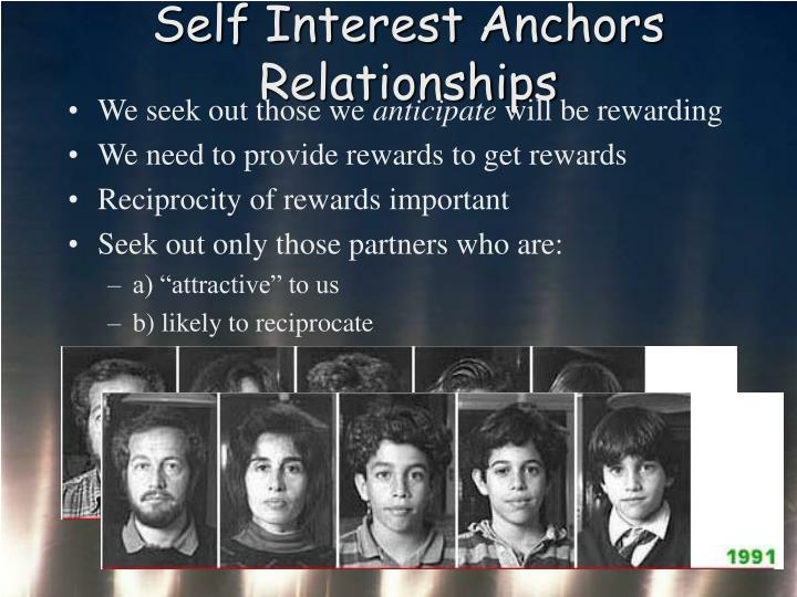 Self Interest Anchors Relationships