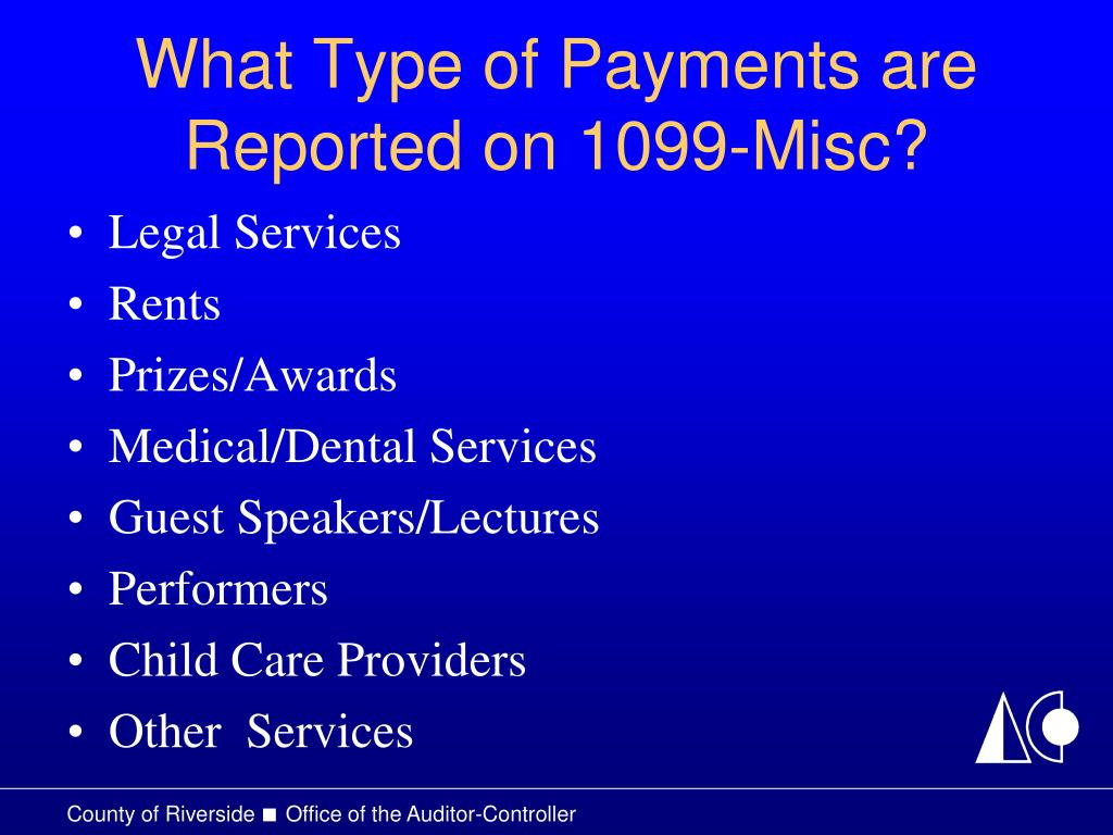 What Type of Payments are Reported on 1099-Misc?
