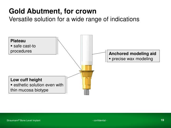Gold Abutment, for crown