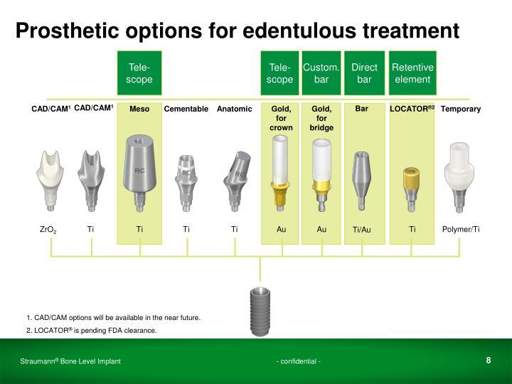 Prosthetic options for edentulous treatment