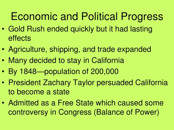 Economic and Political Progress
