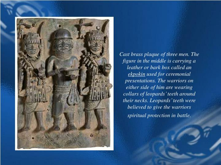 Cast brass plaque of three men. The figure in the middle is carrying a leather or bark box called an
