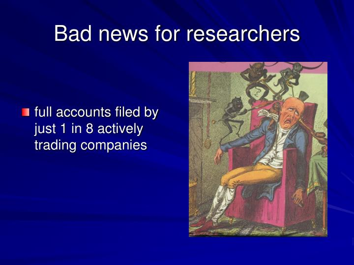 Bad news for researchers