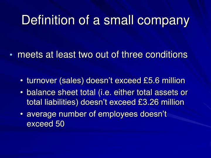 Definition of a small company
