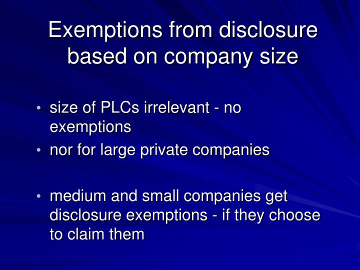 Exemptions from disclosure based on company size