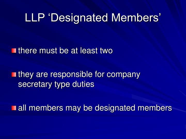 LLP 'Designated Members'