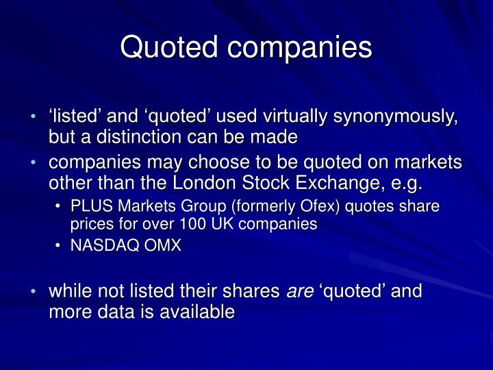 Quoted companies