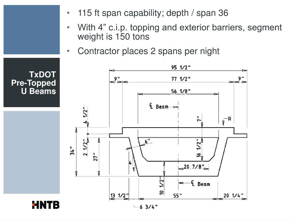 115 ft span capability; depth / span 36