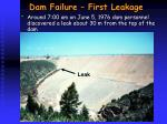 dam failure first leakage