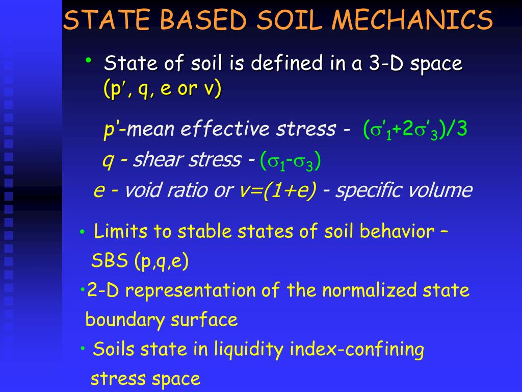STATE BASED SOIL MECHANICS
