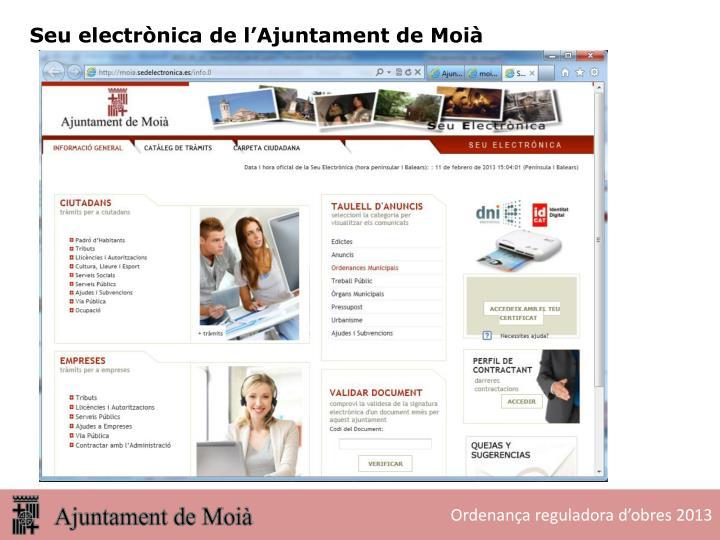 Seu electrònica de l'Ajuntament de Moià
