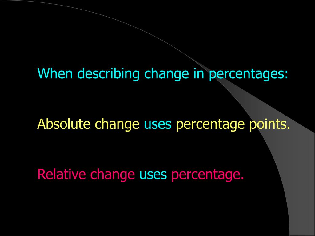 When describing change in percentages: