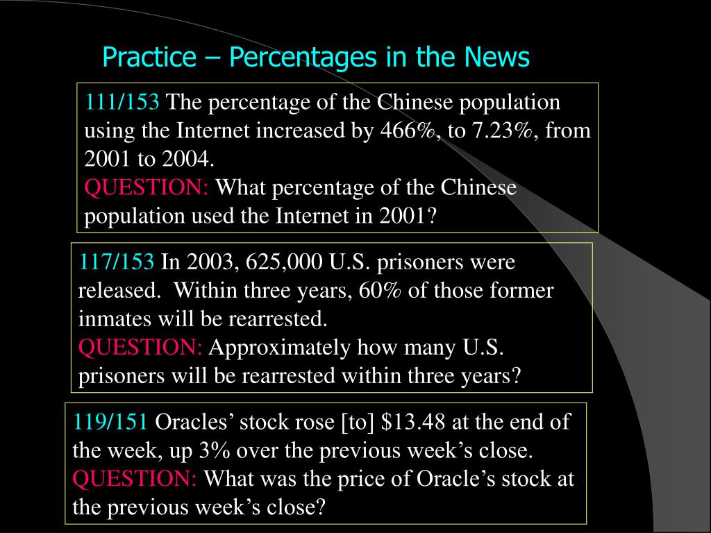 Practice – Percentages in the News
