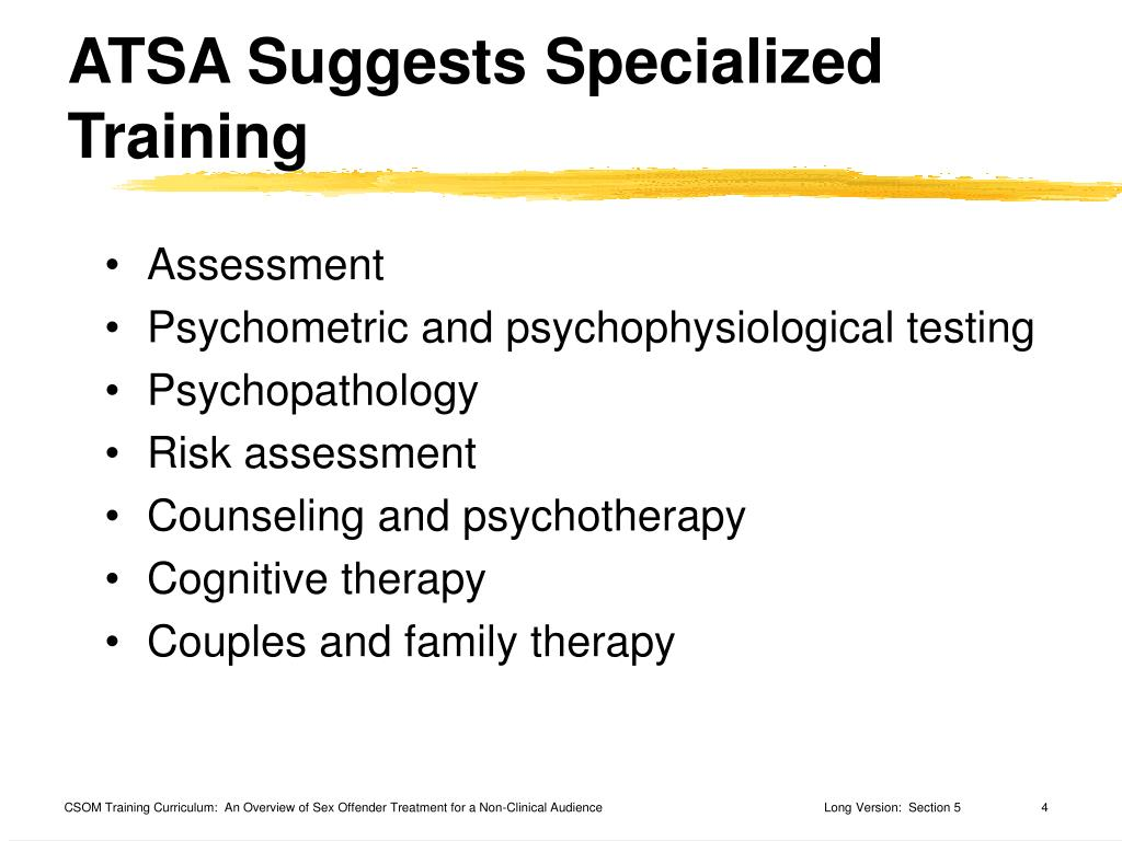 ATSA Suggests Specialized Training