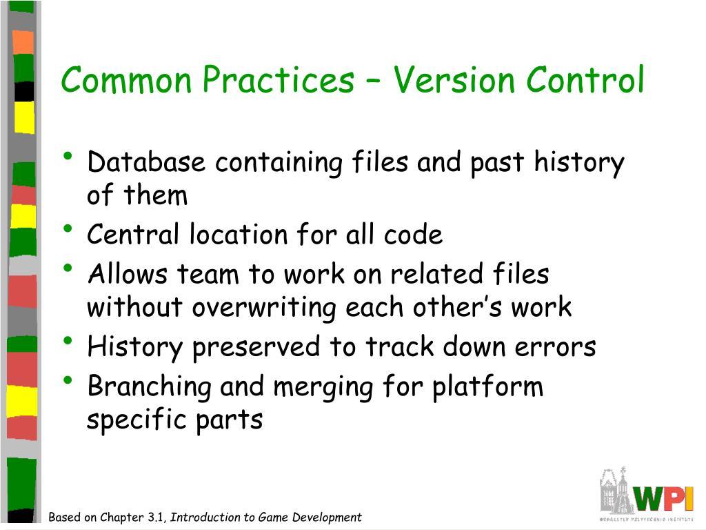 Common Practices – Version Control