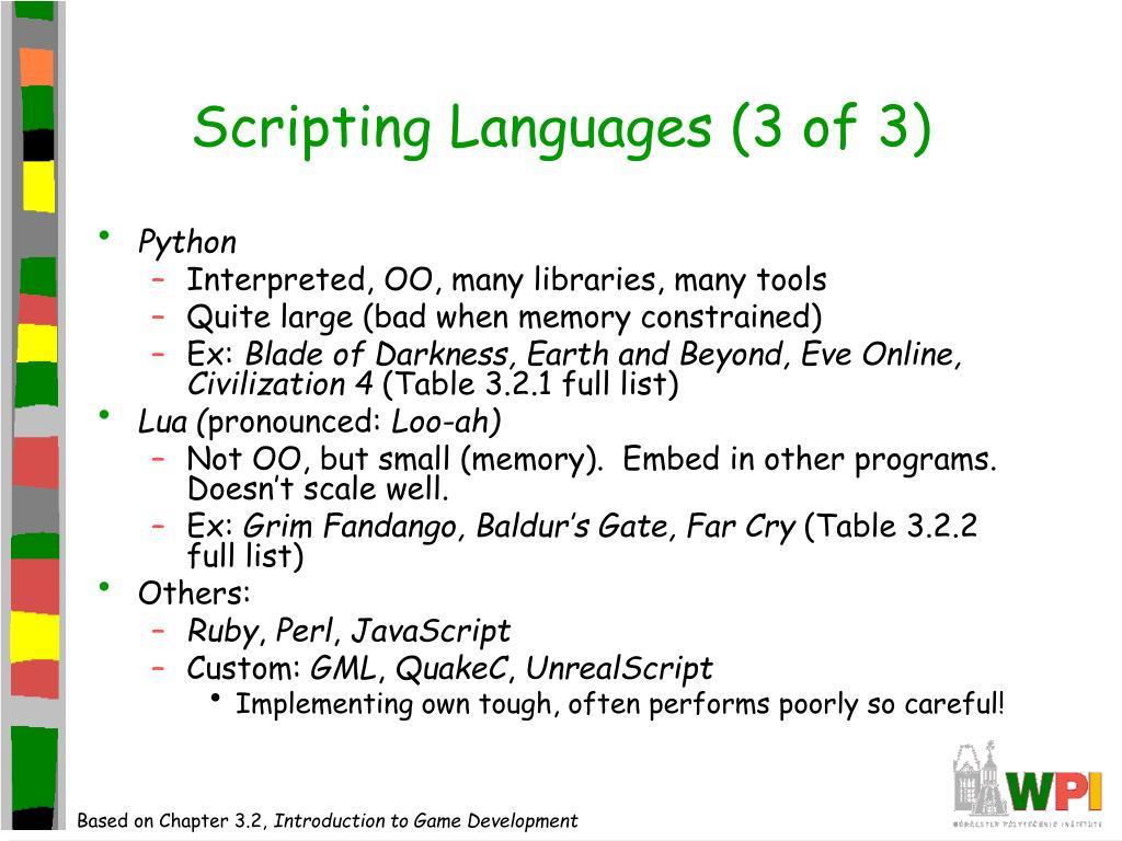 Scripting Languages (3 of 3)