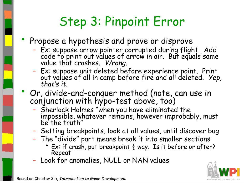 Step 3: Pinpoint Error