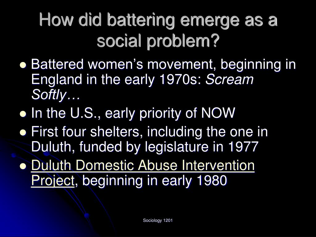 How did battering emerge as a social problem?