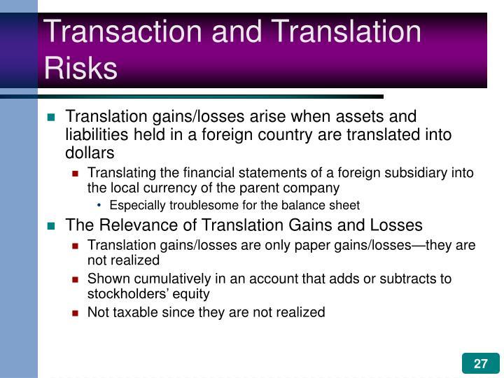 Transaction and Translation Risks