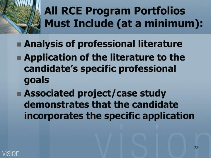All RCE Program Portfolios Must Include (at a minimum):