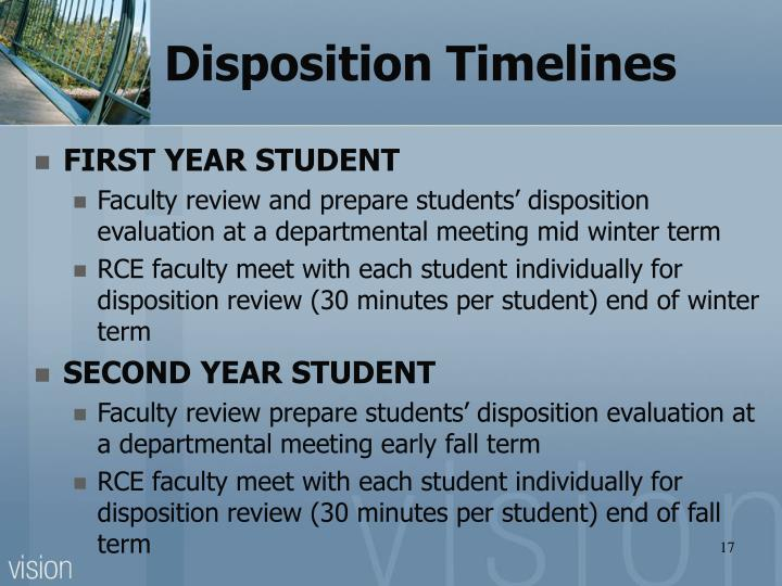Disposition Timelines