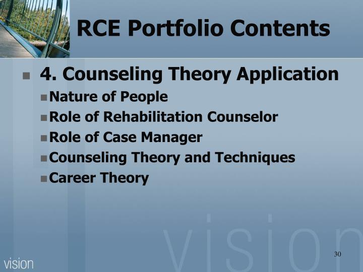 RCE Portfolio Contents