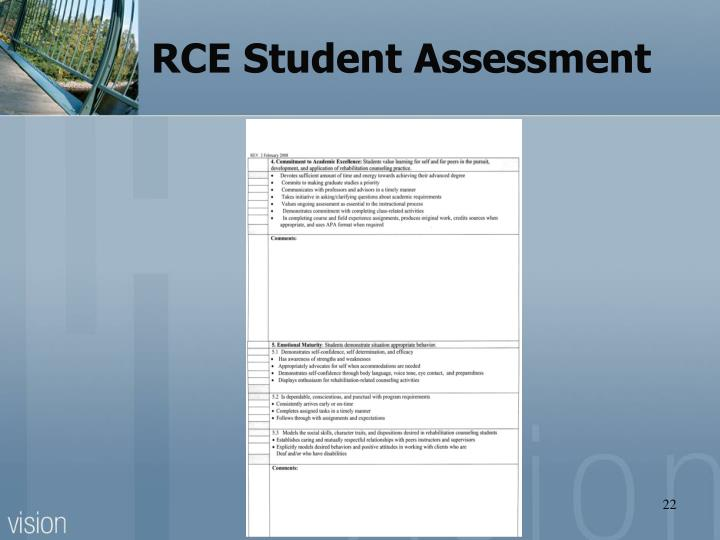 RCE Student Assessment