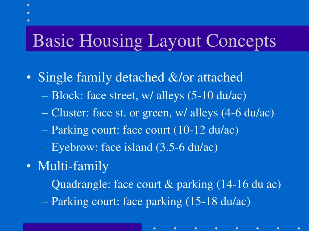 Basic Housing Layout Concepts