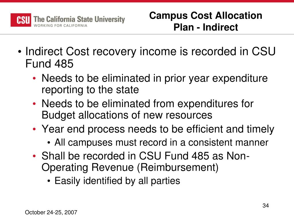Campus Cost Allocation Plan - Indirect