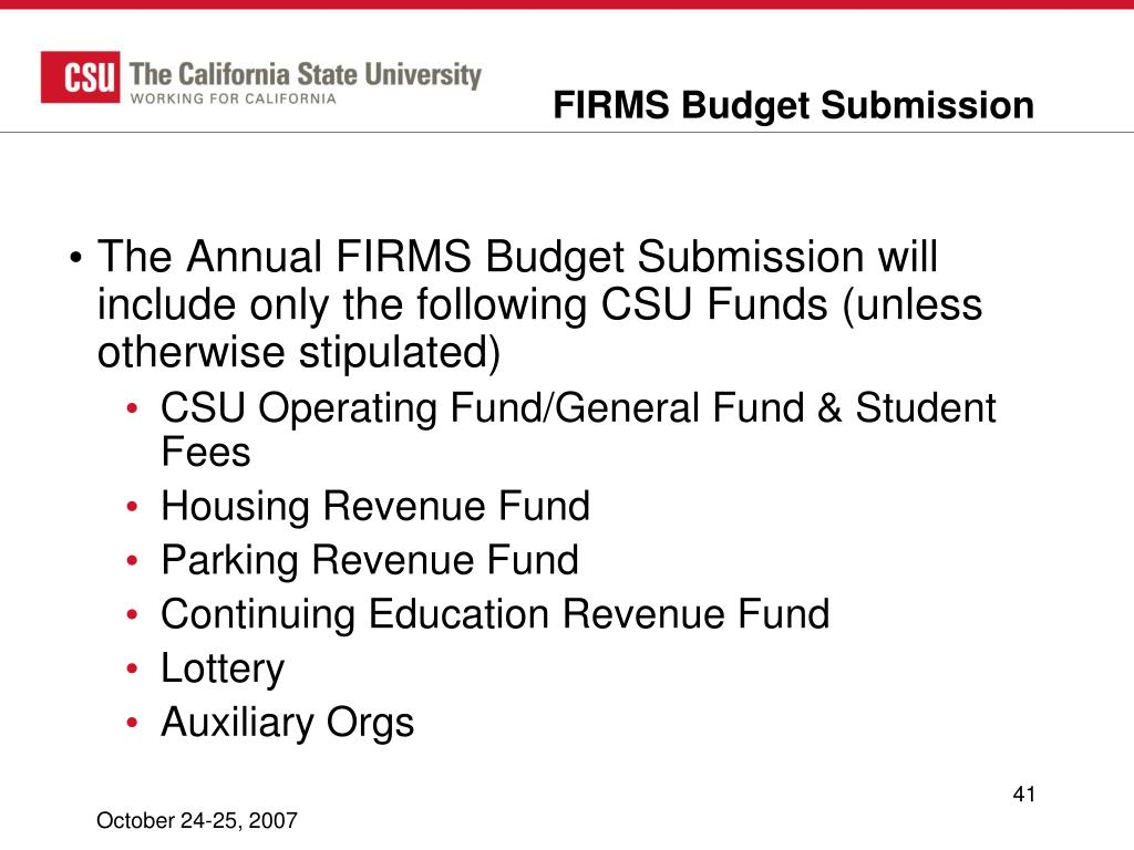 FIRMS Budget Submission