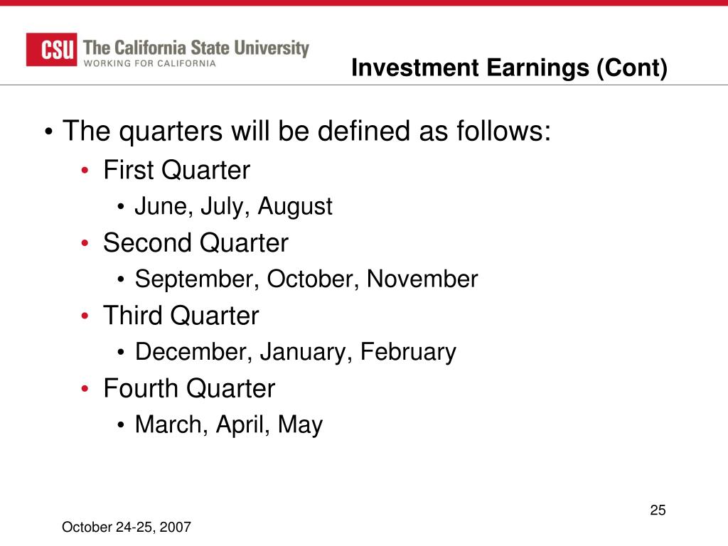 Investment Earnings (Cont)
