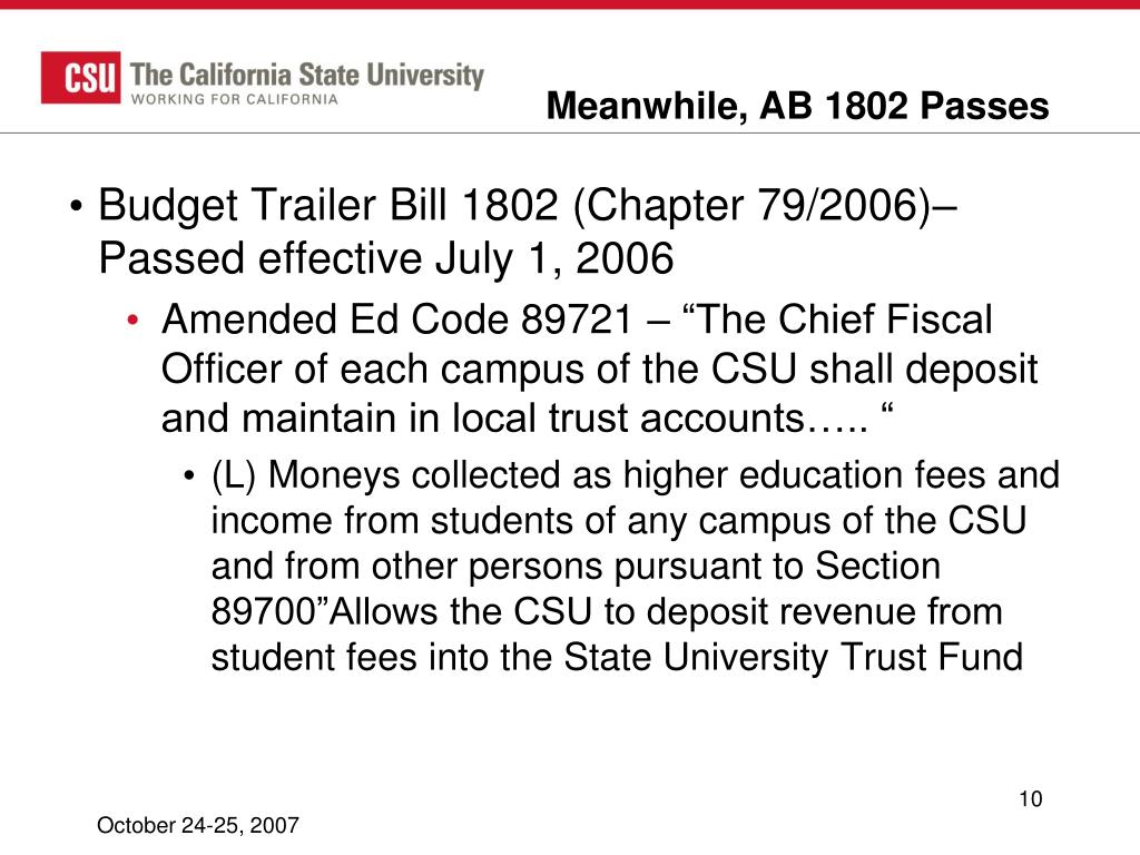 Meanwhile, AB 1802 Passes