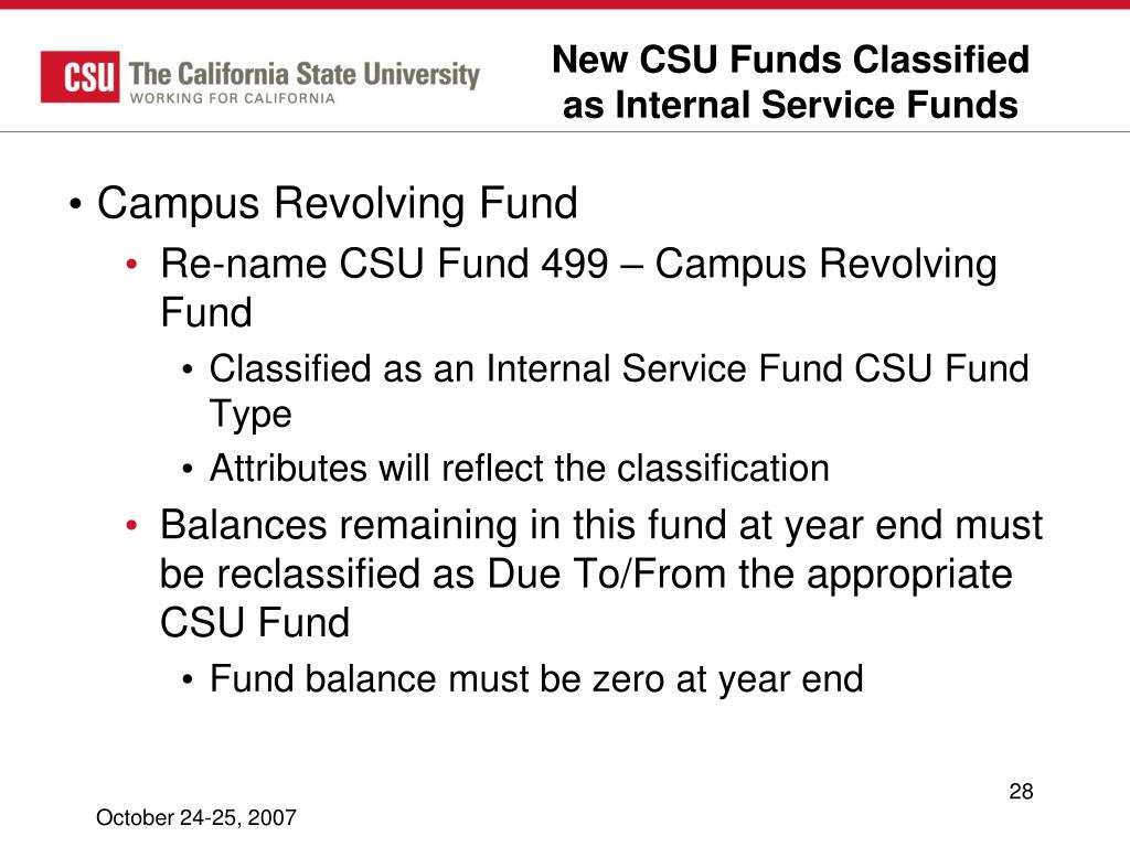 New CSU Funds Classified as Internal Service Funds