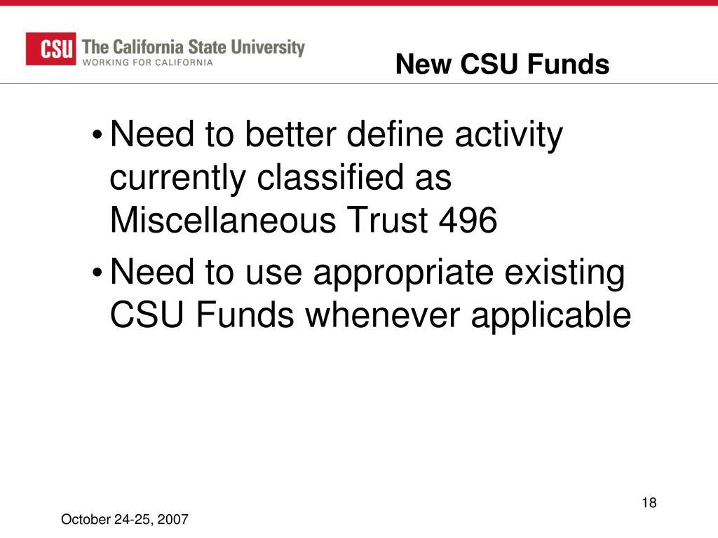 New CSU Funds