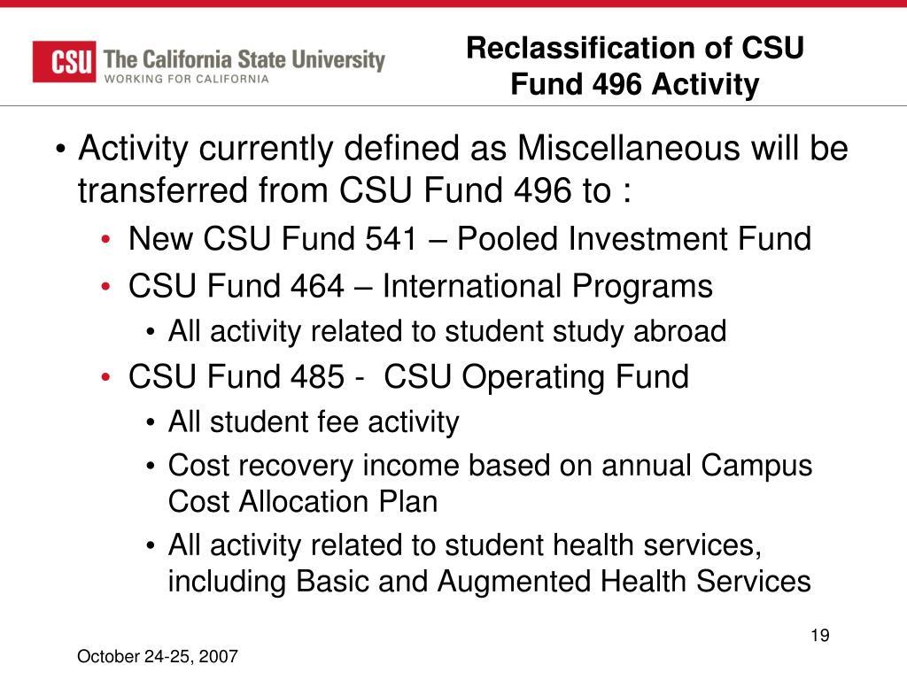 Reclassification of CSU Fund 496 Activity