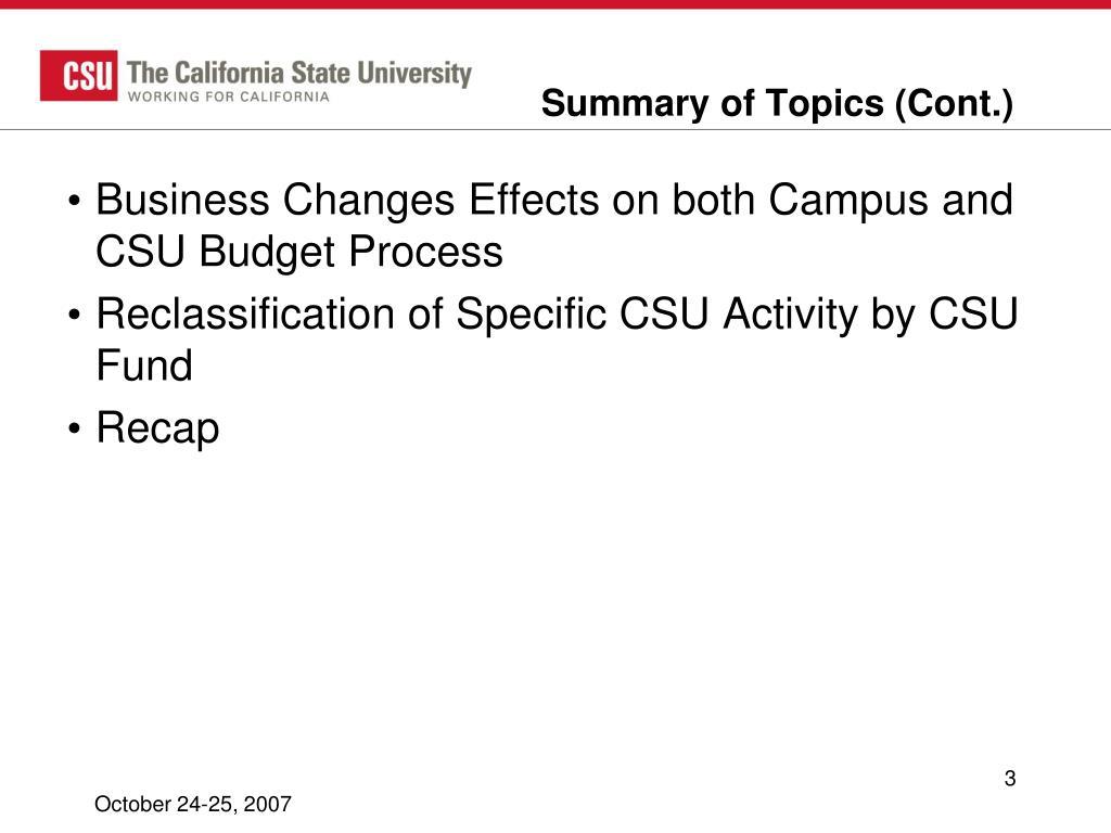 Summary of Topics (Cont.)