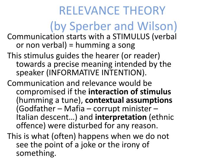 Relevance theory by sperber and wilson