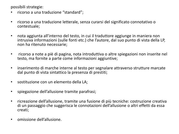 possibili strategie: