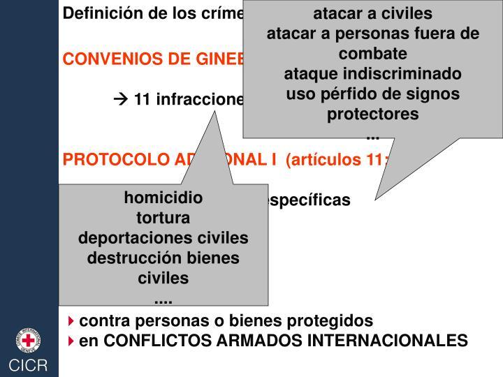 Definición de los crímenes de guerra