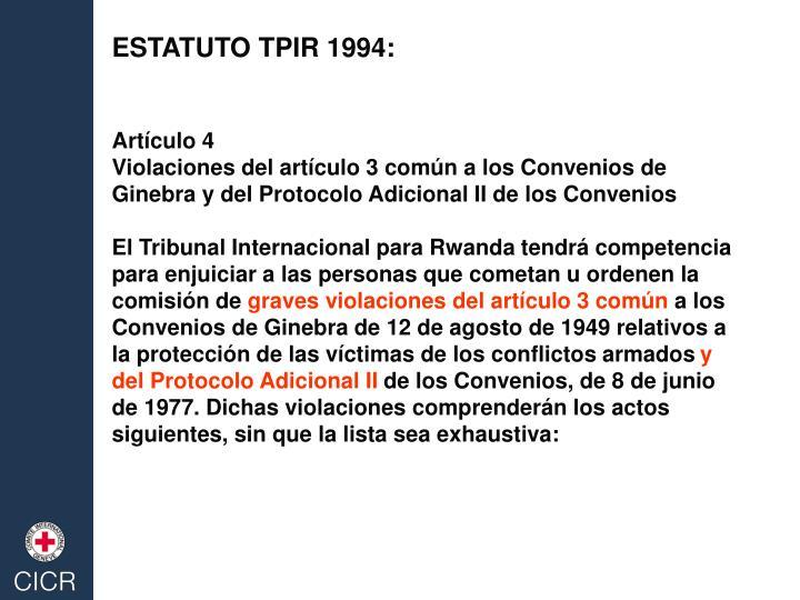 ESTATUTO TPIR 1994: