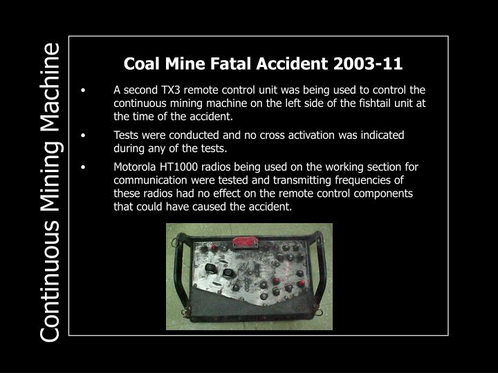 Coal Mine Fatal Accident 2003-11