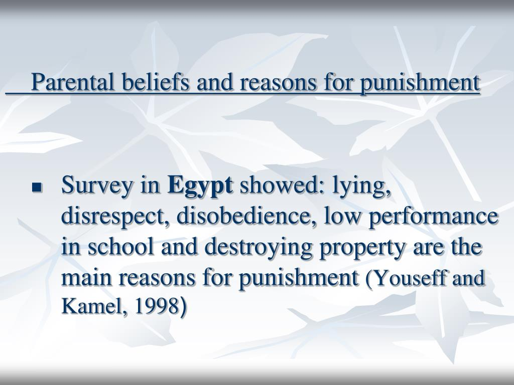 Parental beliefs and reasons for punishment