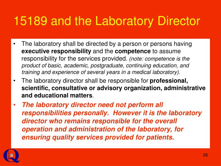15189 and the Laboratory Director