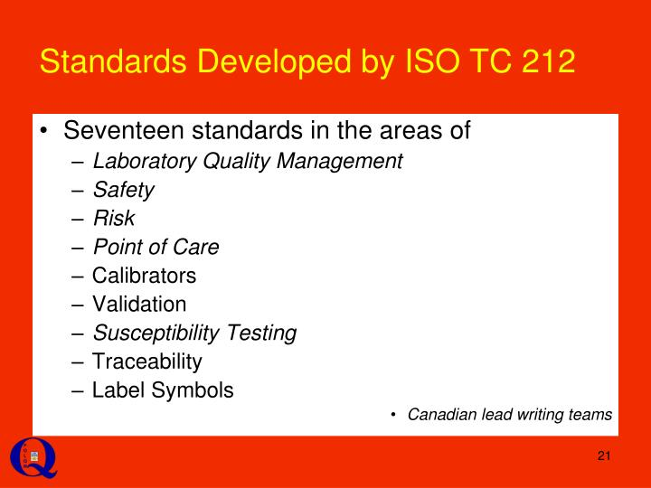Standards Developed by ISO TC 212