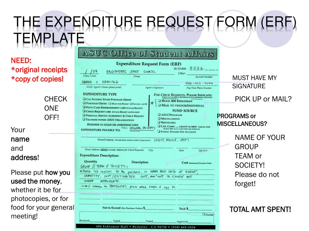 the expenditure request form (ERF)