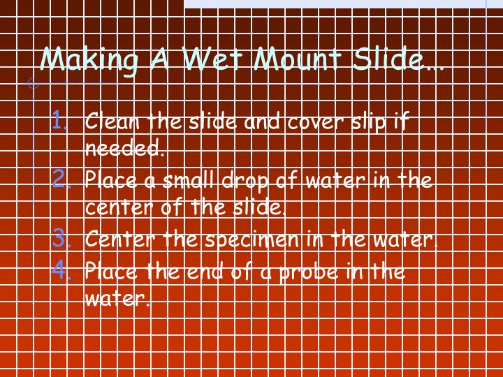 Making A Wet Mount Slide…