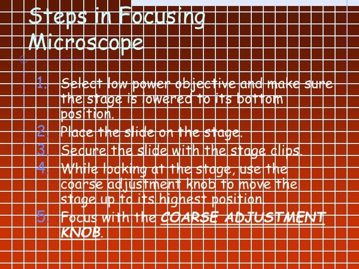 Steps in Focusing Microscope