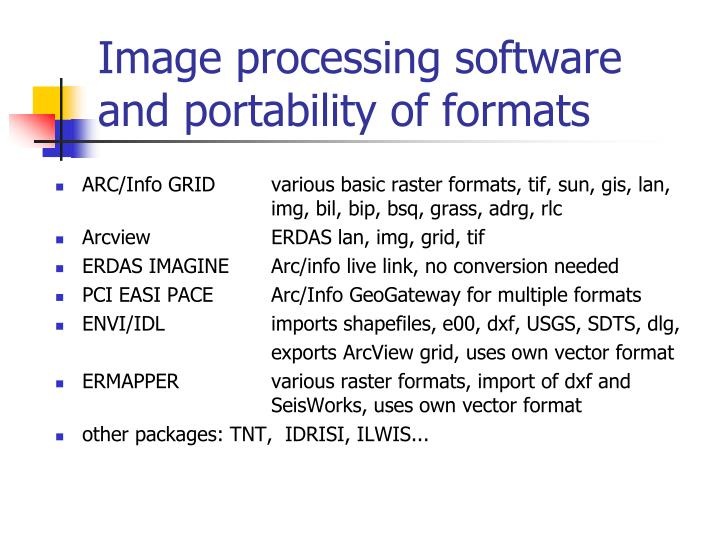 Image processing software and portability of formats