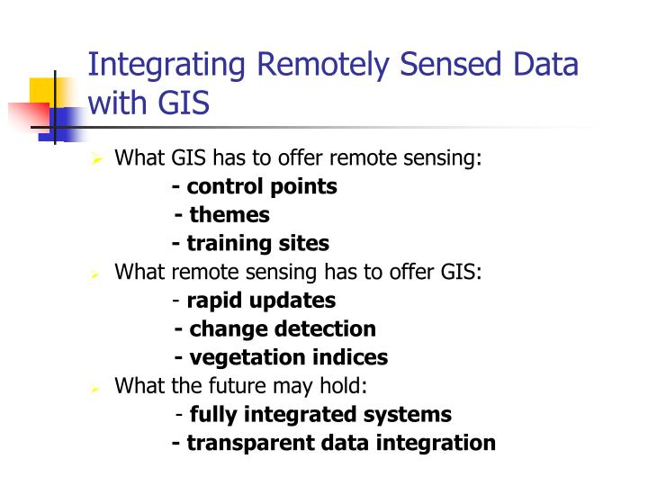 Integrating Remotely Sensed Data with GIS