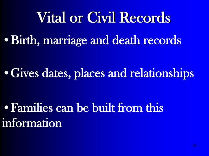 Vital or Civil Records